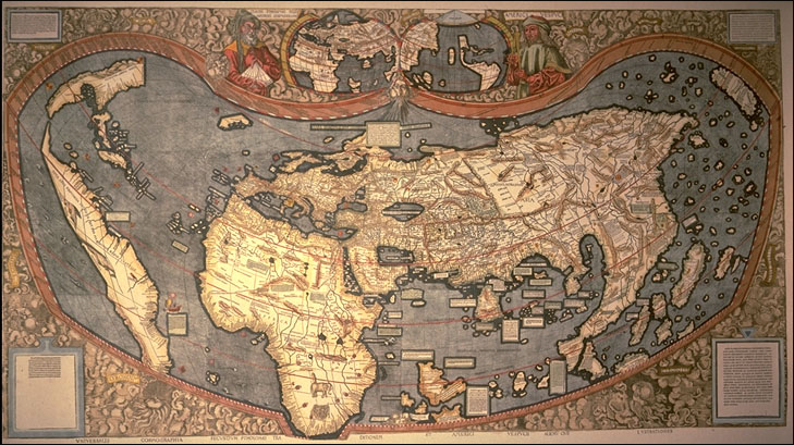 Maps transpacificproject waldseemuller map of 1507 enhanced with color gumiabroncs Image collections