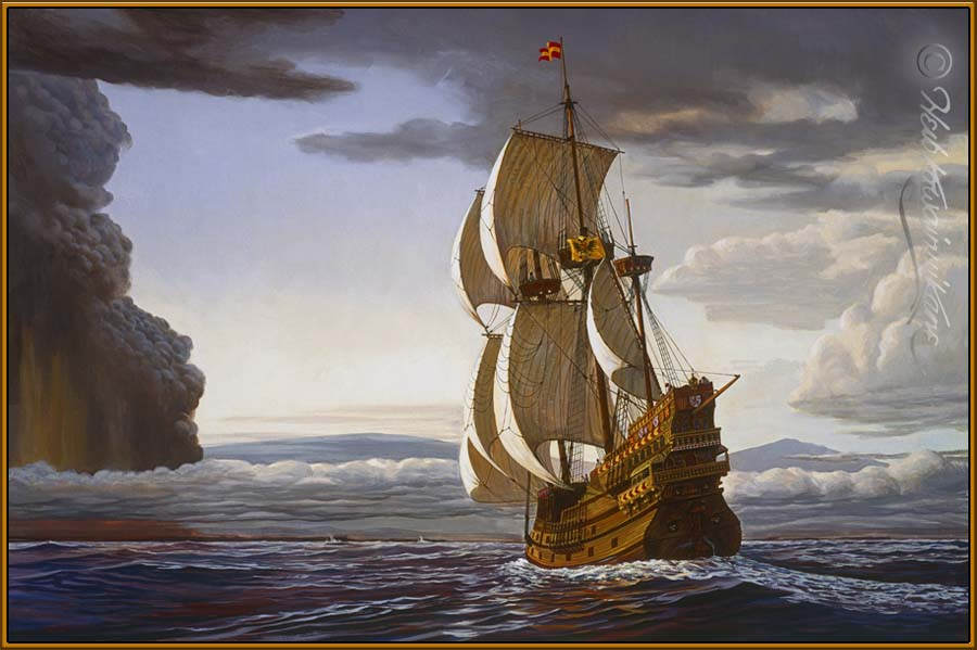 Transpacific boats and ships transpacificproject herb kanes painting of spanish galleon sighting hawaii publicscrutiny